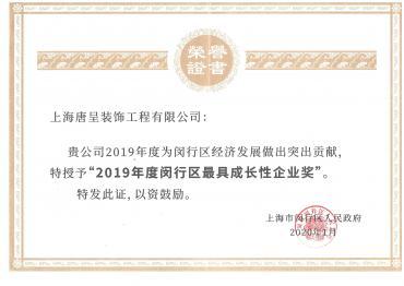 2019年度闵行区最具成长性企业